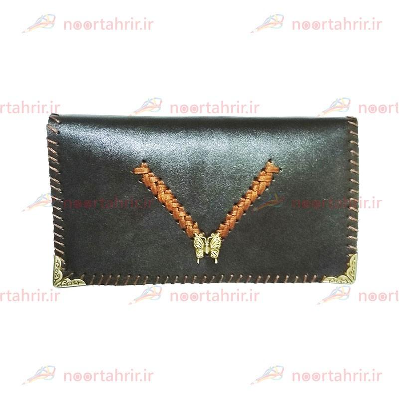 کیف پول زنانه چرمی طرح پروانه